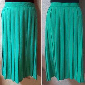 Teal green pleated tea length career skirt 18